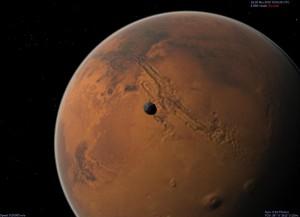 Celestia: Marsmond Phobos schwebt über dem Valles Marineris